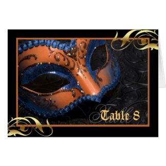 Orange Masquerade Mask Table Number Card