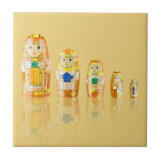 Orange Matryoshka Russian Dolls Tile
