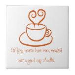 Orange Mended Hearts Coffee Tile Trivet