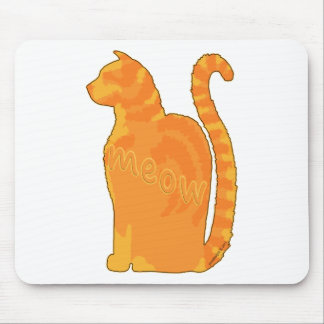 Orange Meow Kitty Cat Silhouette Mouse Pad