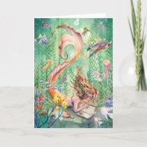 Orange Mermaid Greeting Card