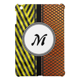 Orange Mesh and Yellow Caution Tape Monogram iPad Mini Covers
