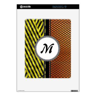 Orange Mesh and Yellow Caution Tape Monogram iPad Skins