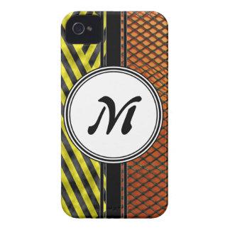 Orange Mesh and Yellow Caution Tape Monogram iPhone 4 Case-Mate Case