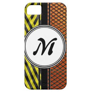 Orange Mesh and Yellow Caution Tape Monogram iPhone SE/5/5s Case