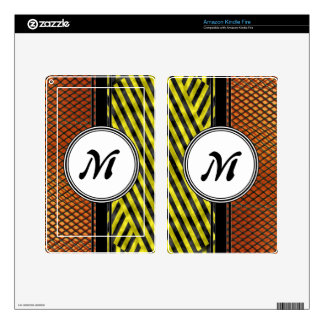 Orange Mesh and Yellow Caution Tape Monogram Skin For Kindle Fire