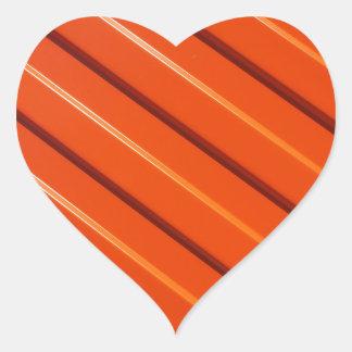 Orange metal corrugated sheet metal closeup heart sticker