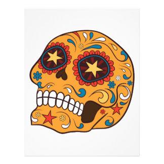 Orange Mexican Sugar Skull With Starry Eyes Letterhead