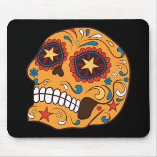 Orange Mexican Sugar Skull With Starry Eyes Mouse Pad