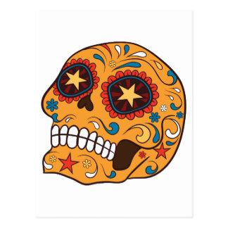 Orange Mexican Sugar Skull With Starry Eyes Postcard