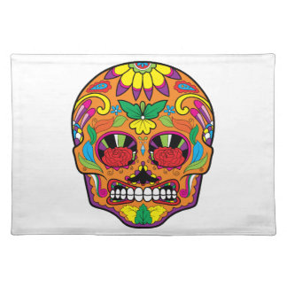 Orange Mexican Tattoo Sugar Skull Red Rose Eyes Cloth Placemat