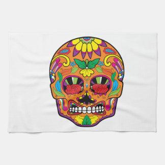 Orange Mexican Tattoo Sugar Skull Red Rose Eyes Kitchen Towel