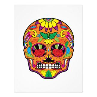 Orange Mexican Tattoo Sugar Skull Red Rose Eyes Letterhead
