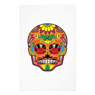 Orange Mexican Tattoo Sugar Skull Red Rose Eyes Stationery
