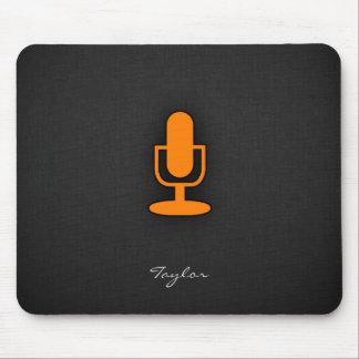 Orange Microphone Mouse Pad