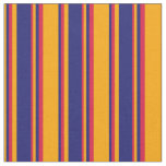 [ Thumbnail: Orange, Midnight Blue, and Crimson Colored Lines Fabric ]