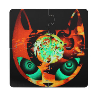 Orange Mindful Cat Puzzle Coaster