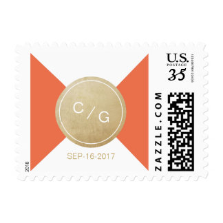 Orange minimalist modern wedding monogram postage