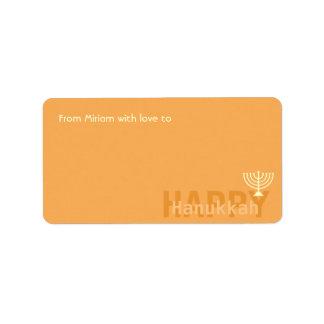 Orange Minimalistic Menorah Hanukkah Address Label