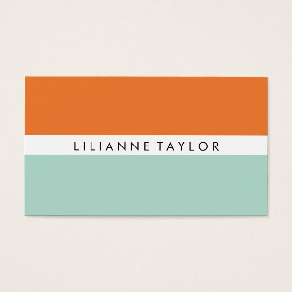 Orange / Mint Business Card