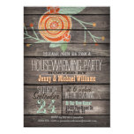Orange & Mint Green; Rustic Housewarming Party 5x7 Paper Invitation Card