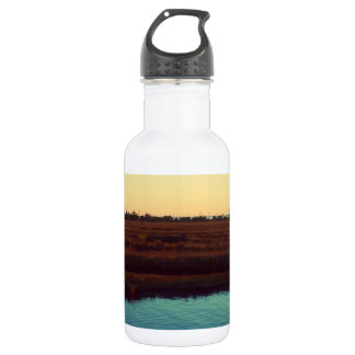 Orange Mississippi Sunset over Marshland Water Bottle
