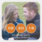 Orange Modern Circles Photo Save the Date Stickers