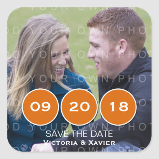 Orange Modern Circles Photo Save the Date Stickers