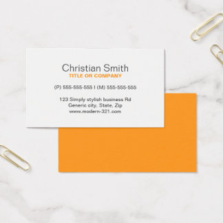 Orange modern generic simple elegant personal business card