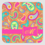 Orange Modern Paisley Whimsy Pattern Square Sticker