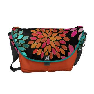 Orange Modern Star Burst Flower Commuter Bag Courier Bags