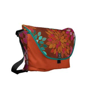 Orange Modern Star Burst Flower Commuter Bag Messenger Bag