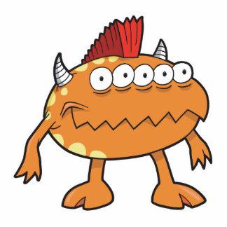 orange mohawk monster many eyes photo sculpture