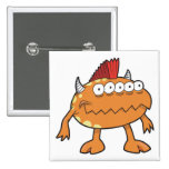 orange mohawk monster many eyes pinback buttons