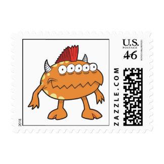 orange mohawk monster many eyes postage stamps