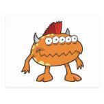 orange mohawk monster many eyes postcard