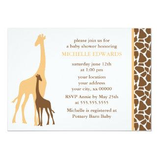 Orange Mom and Baby Giraffe Baby Shower 5x7 Paper Invitation Card