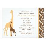 Orange Mom and Baby Giraffe Baby Shower Card