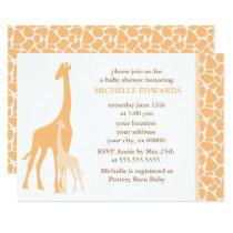 Orange Mom and Baby Giraffe Baby Shower Invitation