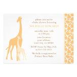 Orange Mom and Baby Giraffe Baby Shower Custom Invitation
