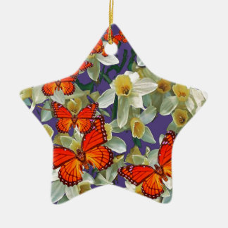 Orange Monarch Butterflies Narcissus Art Ceramic Ornament