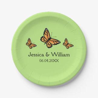Orange Monarch Butterflies Wedding Paper Plate