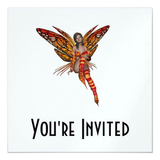 "Orange Monarch Butterfly 3D Pixie - Fairy 1 5.25"" Square Invitation Card"