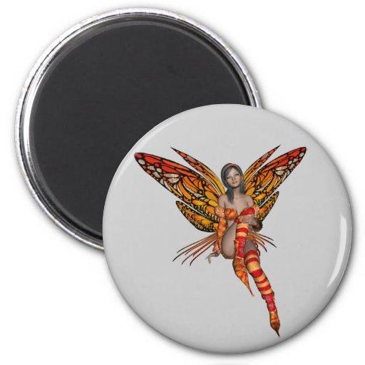 Orange Monarch Butterfly 3D Pixie - Fairy 1 2 Inch Round Magnet