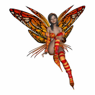 Orange Monarch Butterfly 3D Pixie - Fairy 1 Standing Photo Sculpture
