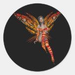 Orange Monarch Butterfly 3D Pixie - Fairy 1 Round Sticker