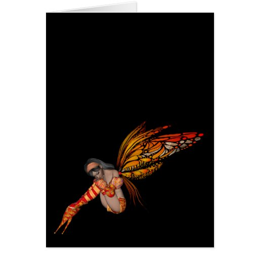 Orange Monarch Butterfly 3D Pixie - Fairy 2 Greeting Card
