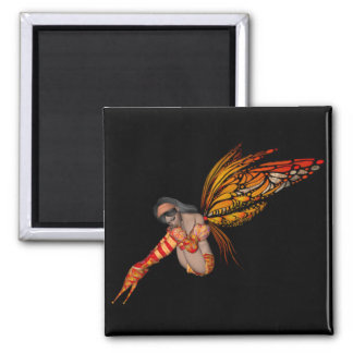 Orange Monarch Butterfly 3D Pixie - Fairy 2 Magnet
