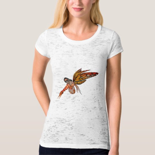Orange Monarch Butterfly 3D Pixie - Fairy 2 T-Shirt