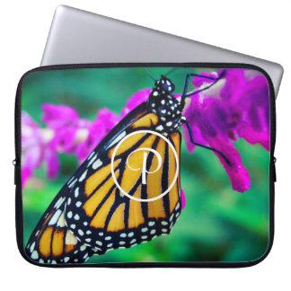 Orange monarch butterfly close-up custom monogram laptop sleeve